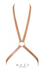 Harnais 8 marron - Maze  : Harnais d'inspiration BDSM (coloris marron), en forme de 8, à porter sur ou sous vos vêtements, en matière 100% Vegan.