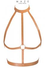Harnais H marron - Maze : Le harnais H est un harnais d'inspiration BDSM, à porter sur ou sous vos vêtements, en matière 100% Vegan (coloris marron).