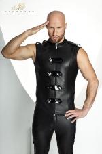 Veste STRONGER Clipped  - Veste sans manches ras du cou style uniforme d'apparat, ferm�e par un zip et des bandes de vinyle brillant.